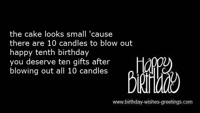 Birthday Card Messages Tenth Cards Children Short Poems