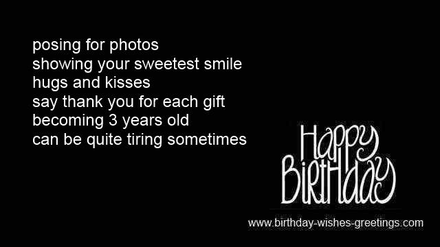 3 Year Old Birthday Greetings 3rd Sayings Girl