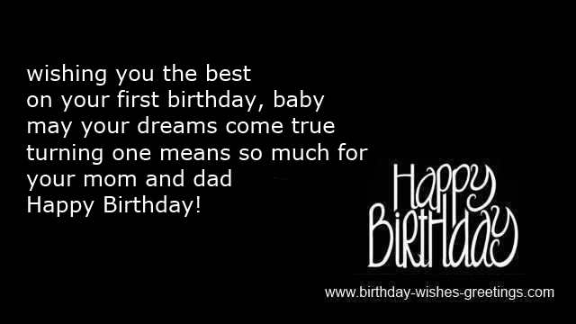 first birthday wishes baby boy or greetings one year old girl